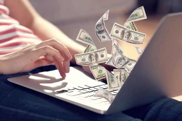 Financial,Concept.,Make,Money,On,The,Internet.,Woman,Sitting,On